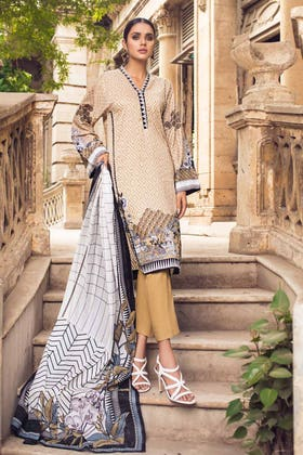 2PC Unstitched Printed Lawn Shirt With Lawn Dupatta BT-12003