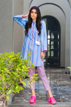 2 PC Unstitched Gold Lacquer Printed Lawn suit TL-355 B
