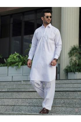 White S.O LATHA Unstitched Fabric