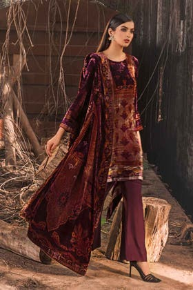 3PC Unstitched Velvet Suit With Velvet Dupatta BVL-12008 B
