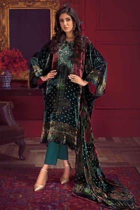 3PC Unstitched Velvet Suit With Velvet Dupatta BVL-12003 B