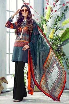 3PC Unstitched Digital Printed Silk Suit DGS-91