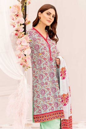 3PC Unstitched Printed Lawn Suit With Printed Lawn Dupatta CL-1030 B