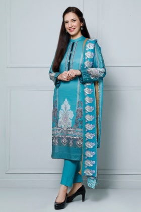 3PC Unstitched Lawn Digital Printed Suit With Embroidered Chiffon Dupatta BM-181