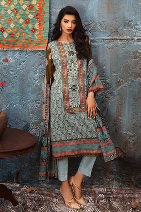 3PC Unstitched Printed Khaddar Suit K-12027 B