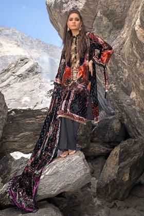 3PC Unstitched Velvet Suit With Velvet Dupatta BVL-12010 A
