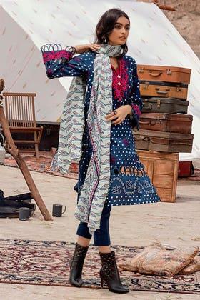 3PC Unstitched Corduroy Suit with Printed Cotton Net Dupatta CD-12006 B