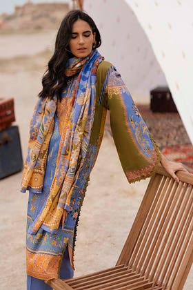 3PC Unstitched Corduroy Embroidered Suit with Digital Printed Cotton Net Dupatta CD-12004