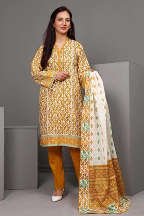 3PC Unstitched Printed Suit With Printed Lawn Dupatta CL-1089 A
