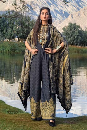 3PC Unstitched Khaddar Embroidered Suit With Poly Viscose Dupatta PVS-12011