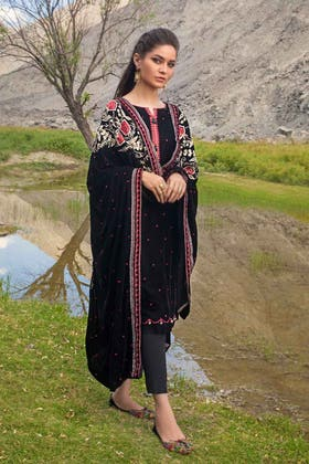 3PC Unstitched Velvet Embroidered Suit WV-12005