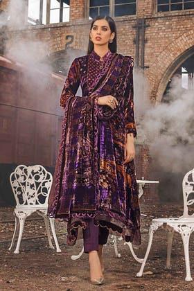 3PC Unstitched Velvet Suit With Velvet Dupatta BVL-12005 A