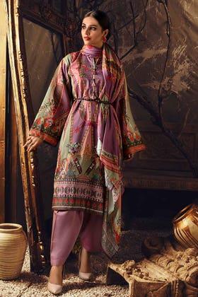 3PC Unstitched Digital Printed Corduroy Suit with Cotton Net Dupatta CD-12012 B