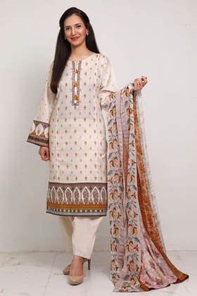 3PC Unstitched Digital Printed Embroidered Lawn Suit With Embroidered Chiffon Dupatta BM-185