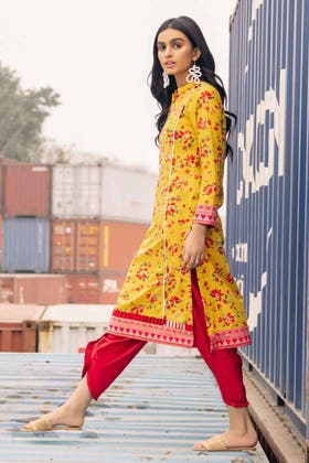 1PC Unstitched Gold Printed Lawn Shirt SL-925 A