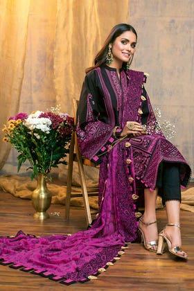 3PC Unstitched Zari Lawn Suit With Chiffon Dupatta PM-380