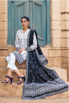 3PC Unstitched Printed Lawn Suit With Lawn Dupatta B-12003