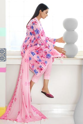 3PC Unstitched Printed Lawn Suit With Embroidered Dyed Denting Lawn Dupatta CL-1075
