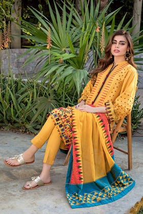 3PC Unstitched Lawn Embroidered Suit With Jacquard Dupatta MJ-87