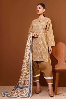 3PC Unstitched Printed Suit With Printed Lawn Dupatta CL-1050 A