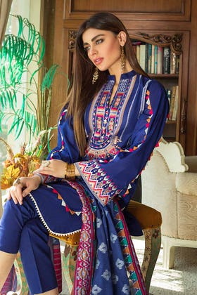 3PC Unstitched Lawn Embroidered Suit With Jacquard Dupatta MJ-86