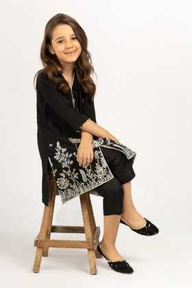 Embroidered Kathan Silk Shirt With Trouser GLAMOUR-21-34 KIDS 2PC