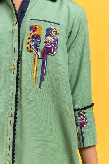 Embroidered Khaddar Shirt GLW-20-71 KIDS