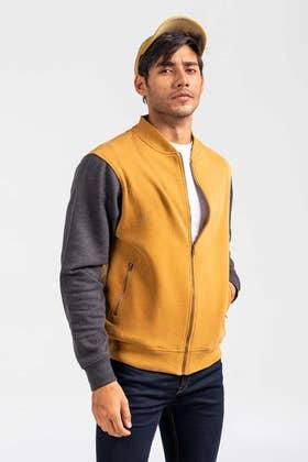 Gold-Grey Mock Neck Zipper Jacket JKT-MNZ-81-02