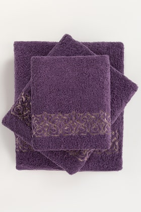 Grape Combed 3Pc Embroidered Towel Set