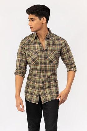 Green-Navy  Casual Shirt CM-YD-2866 CS