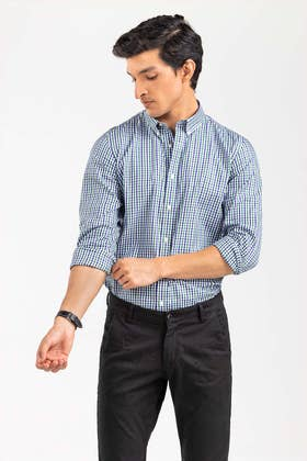Green White Checkered Smart Casual Shirt CM-YD-2895 SC