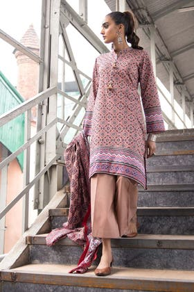 2PC Unstitched Printed Lawn Shirt With Printed Lawn Dupatta TL-324 A