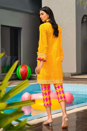 2 PC Unstitched Gold Lacquer Printed Lawn suit TL-356 B