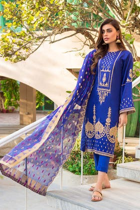 3PC Unstitched Lawn Embroidered Suit With Jacquard Dupatta MJ-75