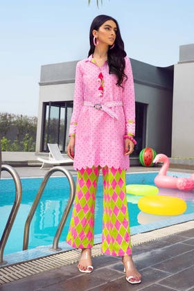 2 PC Unstitched Gold Lacquer Printed Lawn suit TL-356 A