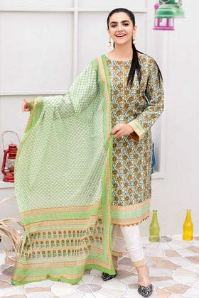 3PC Unstitched Printed Lawn Suit With Lacquer Printed Lawn Dupatta CL-1025 B