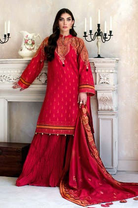 3PC Unstitched Jacquard Embroidered Suit With Embroiderd Jacquard Lace Dupatta MJ-57