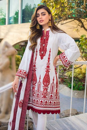3PC Unstitched Lawn Embroidered Suit With Jacquard Dupatta MJ-76