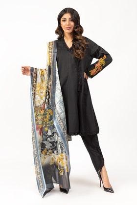 Summer Dobby Embroidered Kurta With Printed Silk Dupatta - IPS-21-20
