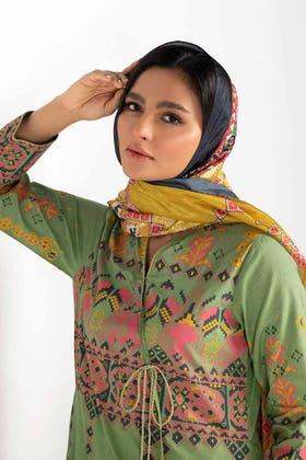 Screen Printed Cotton Shirt With Stripe Silk Dupatta IPS-21-24 2PC