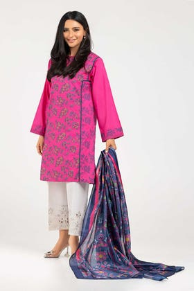 Screen Printed Cotton Shirt With Stripe Silk Dupatta IPS-21-25 2PC