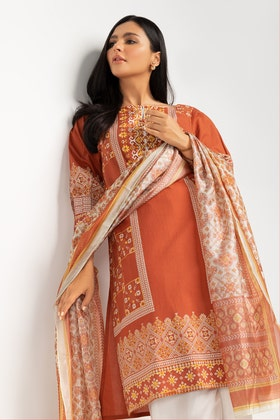 Screen Printed Cotton Shirt With Stripe Silk Dupatta IPS-21-28 2PC