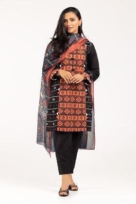 Screen Printed Cotton Shirt With Stripe Silk Dupatta IPS-21-29 2PC