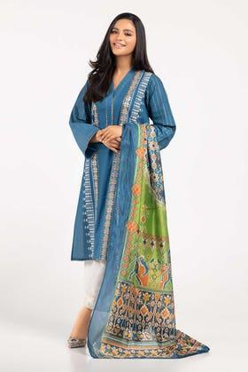 Screen Printed Cotton Shirt With Stripe Silk Dupatta IPS-21-31 2PC
