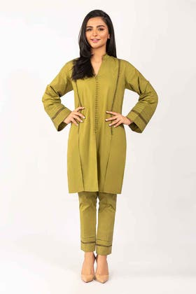 Dyed Cotton Shirt With Trouser - IPS-21-35 2PC
