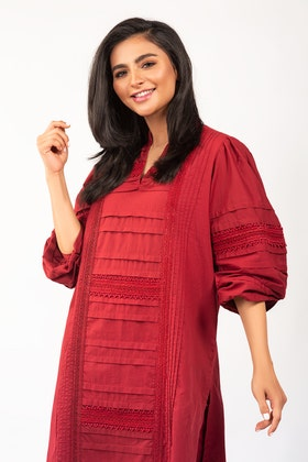 Dyed Cotton Shirt With Trouser - IPS-21-36 2PC