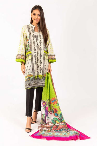 Printed Cotton Shirt With Lawn Dupatta IPS-21-38 2PC