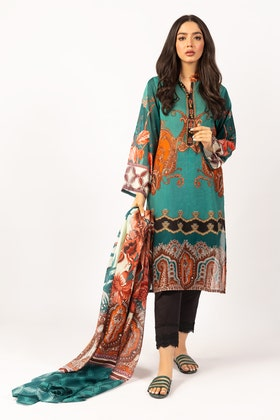 Printed Cotton Shirt With Lawn Dupatta IPS-21-48 2PC
