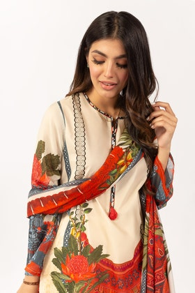 Printed Cotton Shirt With Lawn Dupatta IPS-21-52 2PC