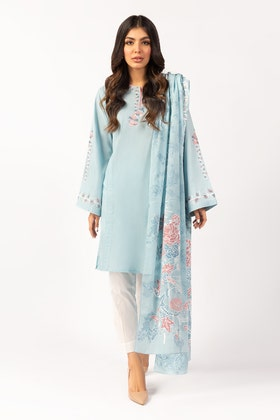 Embroidered Cotton Shirt With Screen Printed Lawn Dupatta - IPS-21-54 2PC